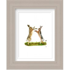 Hares Boxing Print Framed Maine