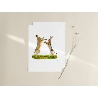 Hares Boxing Print