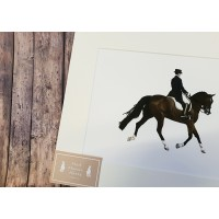 Dressage Mounted Print A4