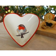 Robin Christmas Heart Bowl
