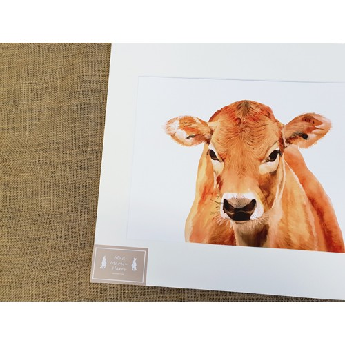 Jersey Cow Mounted Print A3